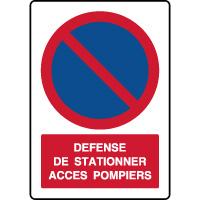 Panneau vertical défense de stationner accès pompiers