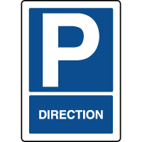 Panneau d'indication vertical parking réservé direction