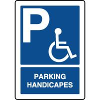 Panneau d'indication vertical parking handicapés