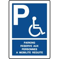 Panneau vertical parking réservé personnes mobilité réduite