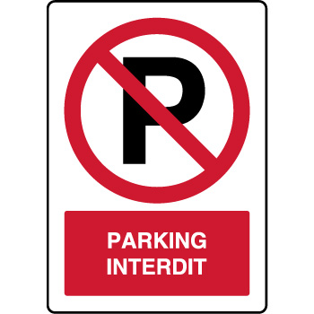 Panneau vertical d'interdiction parking interdit