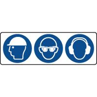 Panneau 3 symboles combinés obligation équipement de la tête