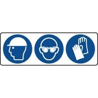 Panneau 3 symboles obligation équipement tête et mains