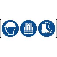 Panneau 3 symboles obligation équipement tête et pieds