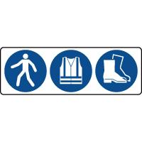 Panneau 3 symboles obligation équipement de protection