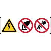 Panneau 3 symboles combinés danger éléctrique