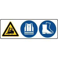 Panneau 3 symboles combinés danger passage de chariot