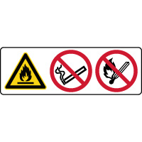 Panneau 3 symboles combinés danger matières inflammables