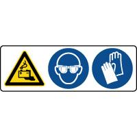 Panneau 3 symboles combinés danger batteries équipement