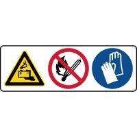 Panneau 3 symboles combinés danger batteries