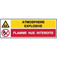 Panneau 2 symboles combinés explosif flamme interdite