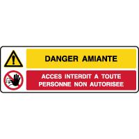 Panneau 2 symboles combinés danger amiante