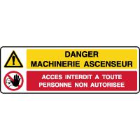 Panneau 2 symboles combinés danger machinerie ascenseur