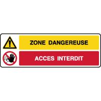 Panneau 2 symboles combinés zone dangereuse accès interdit