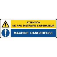 Panneau 2 symboles combinés ne pas distraire l'opérateur