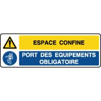Panneau 2 symboles combinés danger espace confiné équipement