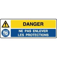 Panneau 2 symboles danger ne pas enlever les protections