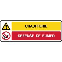 Panneau 2 symboles danger chaufferie