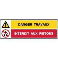 Panneau 2 symboles danger travaux interdit aux piétons