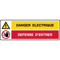 Panneau combiné danger éléctrique défense d'entrer