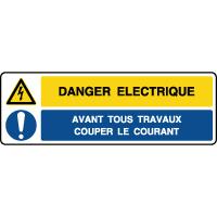 Panneau combiné danger éléctrique couper le courant