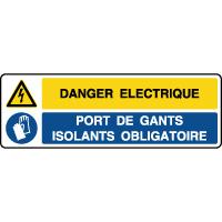 Panneau combiné danger éléctrique port gants obligatoire