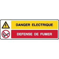 Panneau combiné danger éléctrique défense de fumer