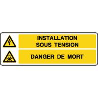 Panneau combiné installation sous tension danger mort