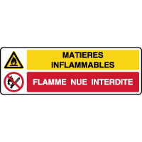 Panneau combiné matières inflammables flamme interdite