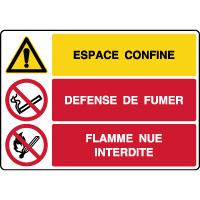 Panneau combiné espace confiné défense de fumer