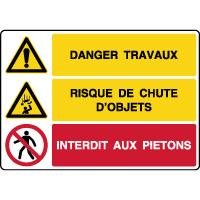 Panneau combiné danger travaux risque de chute d'objets