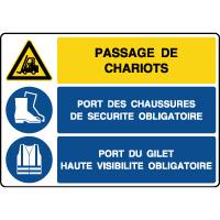 Panneau combiné danger passage de chariots