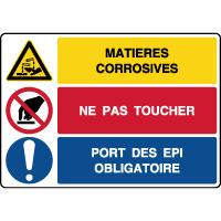 Panneau combiné danger matières corrosives