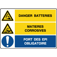 Panneau combiné danger batteries matières corrosives