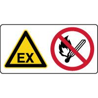 Panneau combiné danger explosif flamme interdite