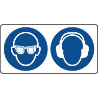 Panneau combiné port lunette et casque sécurité obligatoire