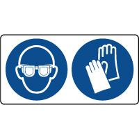 Panneau combiné port lunettes et gants obligatoire