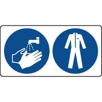 Panneau lavage mains et vetement protection obligatoire