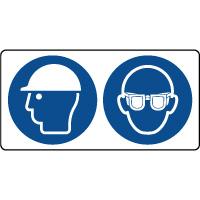 Panneau casque sécurité et lunettes protection obligatoire