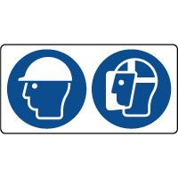 Panneau casque sécurité et visière protection obligatoire