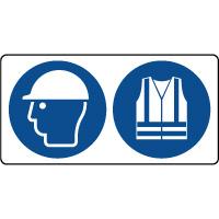 Panneau casque sécurité et gilet sécurité obligatoire