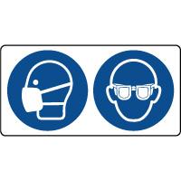 Panneau masque et lunettes sécurité obligatoire