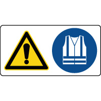 Panneau combiné danger vêtements sécurité obligatoire