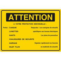 Panneau attention à votre protection individuelle
