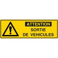Panneau pictogramme attention sortie de véhicules