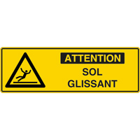 Panneau pictogramme attention sol glissant
