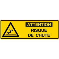 Panneau pictogramme attention risque de chute