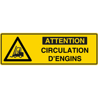 Panneau pictogramme attention circulation d'engins