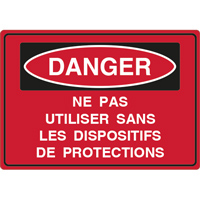 Panneau danger ne pas utiliser sans protections