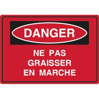 Panneau danger ne pas graisser en marche